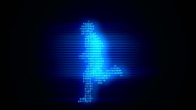 Digital Running Man mit Zahlen loopable in blau – Video