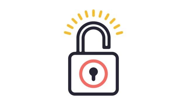цифровая линия безопасности значок анимация с альфа - замок средство безопасности стоковые видео и кадры b-roll