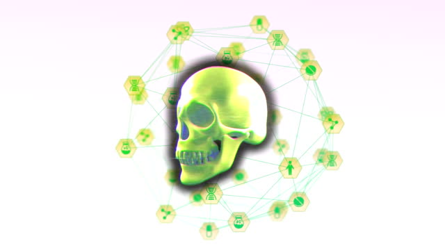 Digital skull spinning against Globe of digital icons