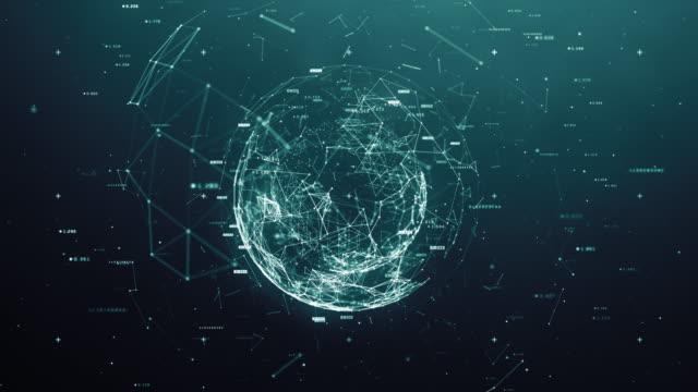 vídeos de stock e filmes b-roll de digital sphere - circular economy
