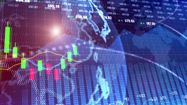4K Digital stock market or forex trading graph and candlestick chart suitable for financial investment. Financial Investment trends for business motion background concept.