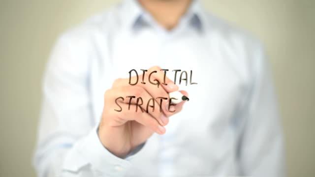Digital Strategy, Man writing on transparent screen video