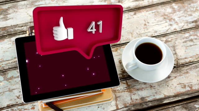 Digital tablet and a like icon with numbers for social media