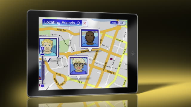 Digital Tablet displaying Friends Social Network on map video