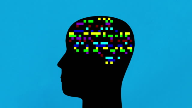 Digital thoughts Human head profile with multicolored blinking pixels in the place of the brain brain stock videos & royalty-free footage