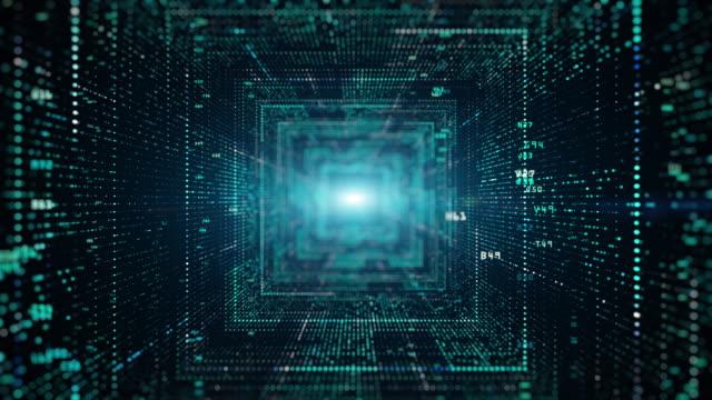digitaler tunnel des cyberspace mit partikeln und digitalen daten, technologie-netzwerk-verbindungen hintergrundkonzept. - blockchain stock-videos und b-roll-filmmaterial