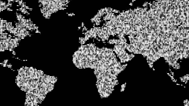 Digital white world map in dots. video