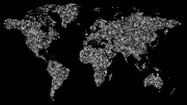 Digital white world map in flickering dots. video