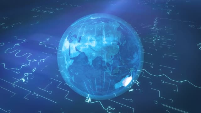 vídeos de stock e filmes b-roll de digital world of internet, big data concept - circular economy