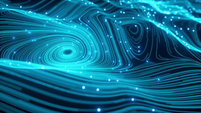 vidéos et rushes de digitalisation abstraction waving blue blurred animated of particle and line (en plus) - entonnoir