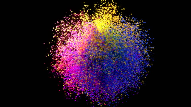 Digitally generated slow motion colorful particle explosion