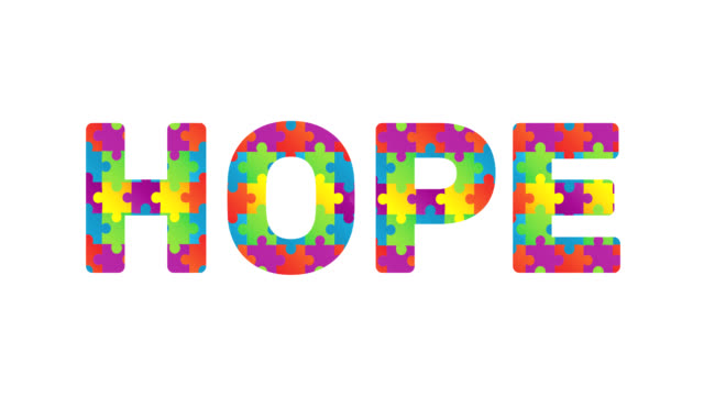 Digitally generated video of with puzzle elements forming hope text against white background