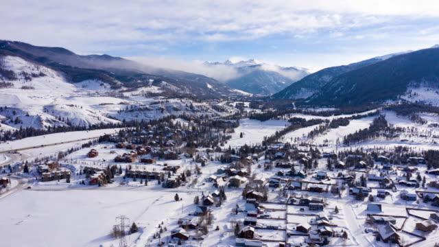 Dillon Colorado Rocky Mountains Winter Morning Snowy Town Hyperlapse