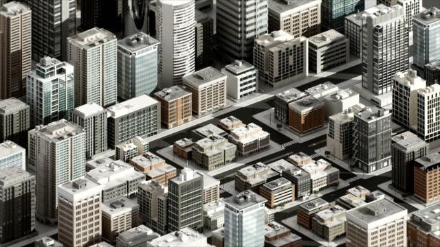 3d-dimension smart city, gebäudekonzept. 4k größe film. - smart city stock-videos und b-roll-filmmaterial
