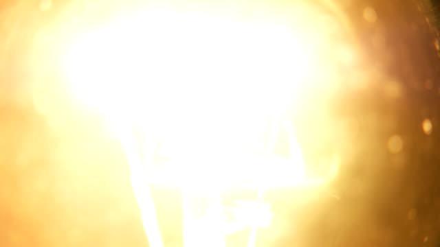 Dimming electric bulb lamp macro closeup video