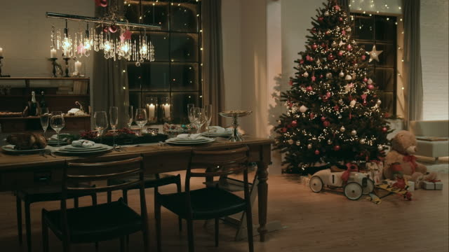 dining room on christmas eve - living room stock videos and b-roll footage