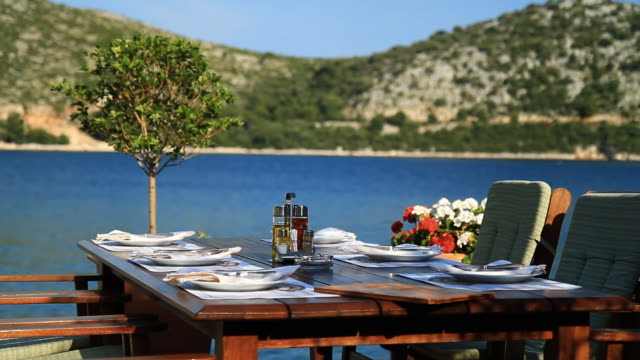 HD: Dining Table On Mediterranean Coast video