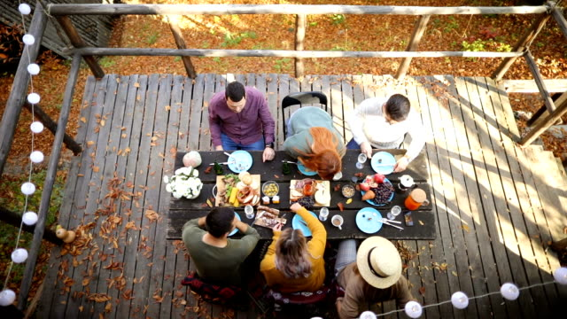 Dinner party at forest house Group of smiling friends enjoys food and conversation at autumn picnic at weekend house medium group of people stock videos & royalty-free footage