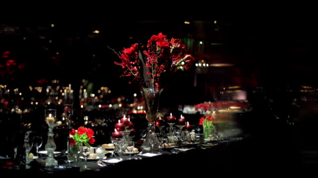 Dinner Table Decoration at luxury hotel video