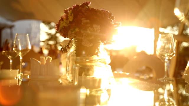 Dinner table in sunset