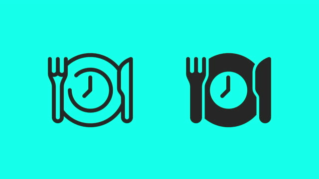 dinner time icons - vector animate - icona posate video stock e b–roll