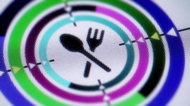 ora di cena - icona posate video stock e b–roll