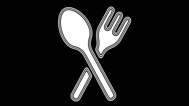 dinner - icona posate video stock e b–roll