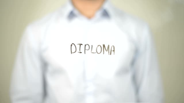Diploma, Man writing on transparent screen video