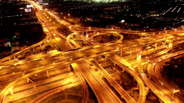 Direct above view of highway road junctions at night