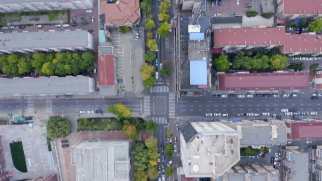 directly above aerial view of city - блок стоковые видео и кадры b-roll