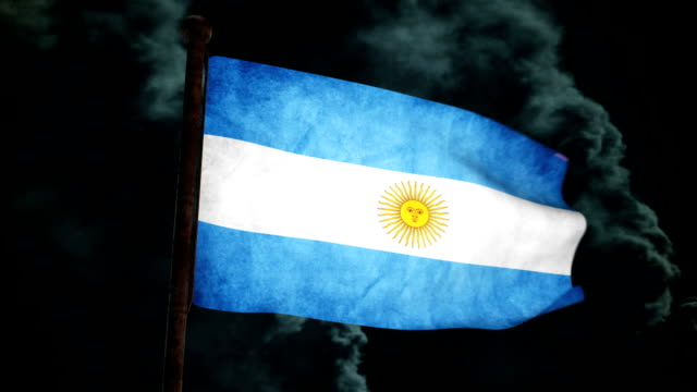 dirty argentina bandiera al vento full hd - bandiera dell'argentina video stock e b–roll