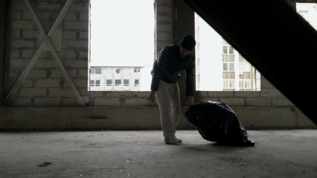 Dirty bum drags garbage bag video