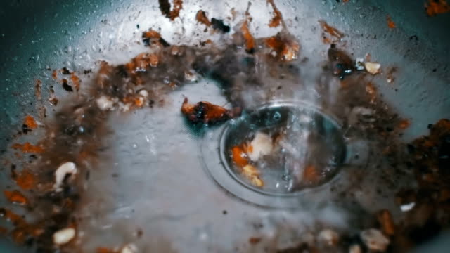Dirty Clogged Washbasin Sink. Kitchen Drain Clogging up with Food Particles video