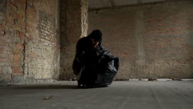 Dirty poor homeless find phone in garbage bag video