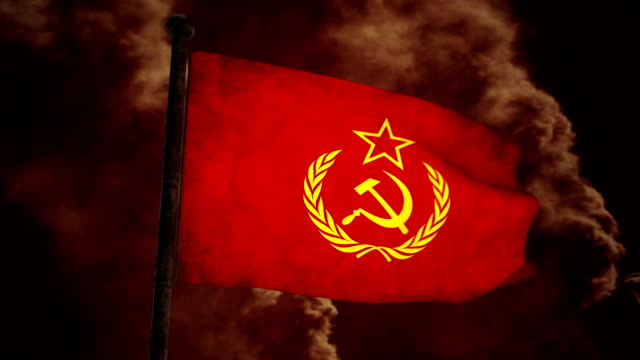 Dirty Soviet flag on the wind full HD