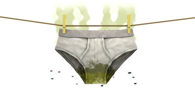 La ropa interior sucia en signo de prohibido. Animación 3D en estilo de dibujos animados. - vídeo