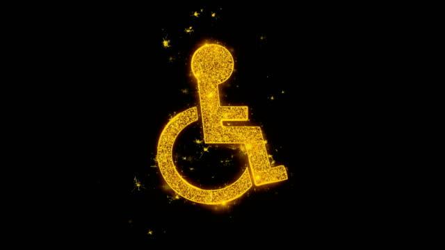 handikappanpassad ikon gnistor partiklar på svart bakgrund. - wheel black background bildbanksvideor och videomaterial från bakom kulisserna