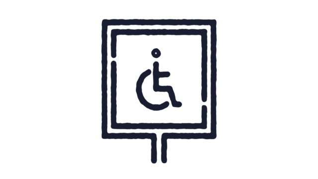 Disabled Sign Icon Animation Footage & Alpha Channel