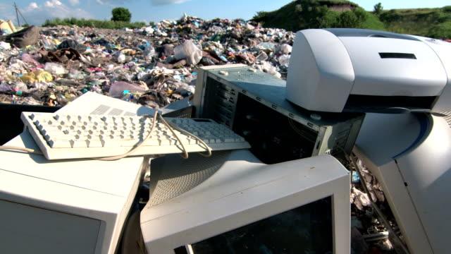Discarded obsolete computer scrap at rubbish dump
