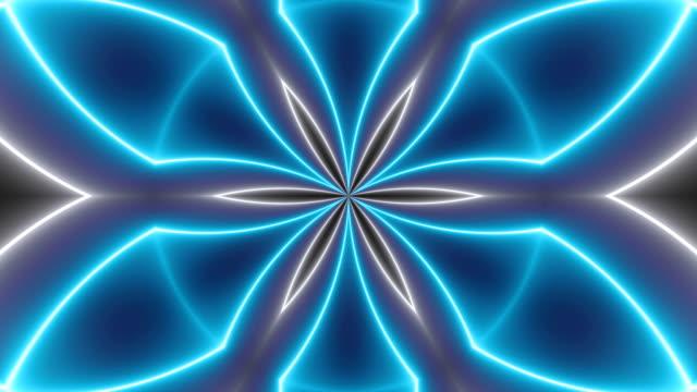 vidéos et rushes de fond de kaléidoscopes disco avec lumineux néon coloré lignes et des formes géométriques - psychédélique