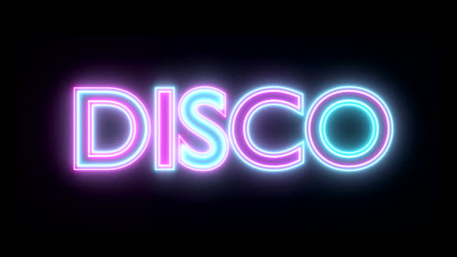 Disco neon sign lights logo text glowing multicolor video