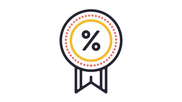 discounts & rewards line icon animation with alpha - indennità video stock e b–roll