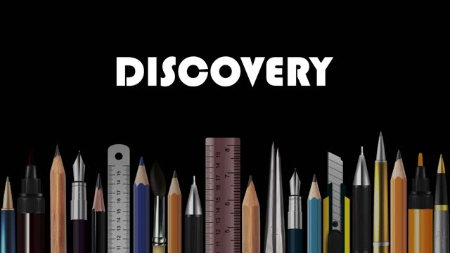 Discovery, Stop Motion Animation of Wooden Pencils, Pens, Measure, Pair of Compasses, Brush, Fountain-Pen,  Abstract Conceptual Image, Contemporary Art, Bright Idea, Opinion, Solution, Philosophy, Back to School
