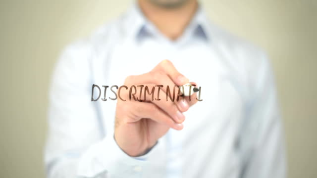 Discrimination,  Man writing on transparent screen video