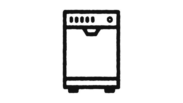 vidéos et rushes de lave-vaisselle icon animation footage - alpha channel - vaisselle picto