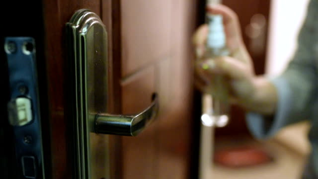 disinfection of surfaces in the house - lysol stock videos & royalty-free footage