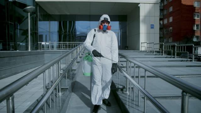Disinfection service. Professional disinfectant spraying. Covid-19. Coronavirus. video