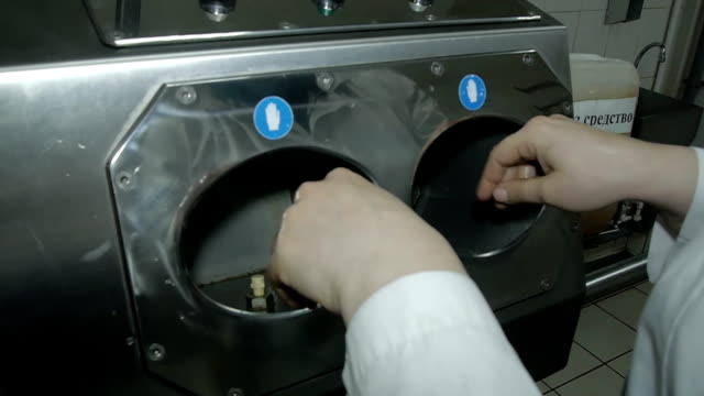 disinfector for processing workers hands video