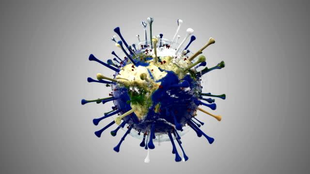 Dispersed corona Virus world, COVID-19 3d rendering video