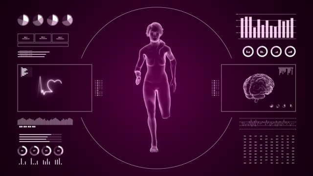 vídeos de stock e filmes b-roll de hud display monitoring cardio running activity of girl. human female figure 3d in fitness motion. 4k infographics data and reports on digital sport interface. - active brain